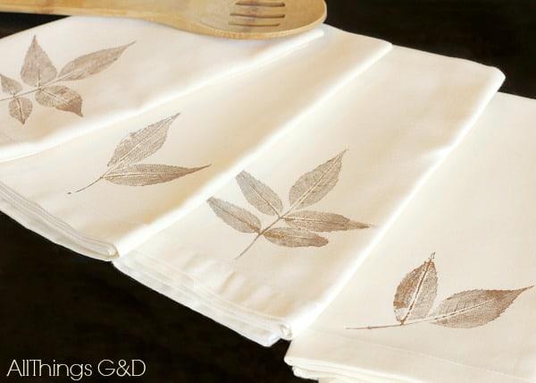 leaf stamp napkins adult fall diy