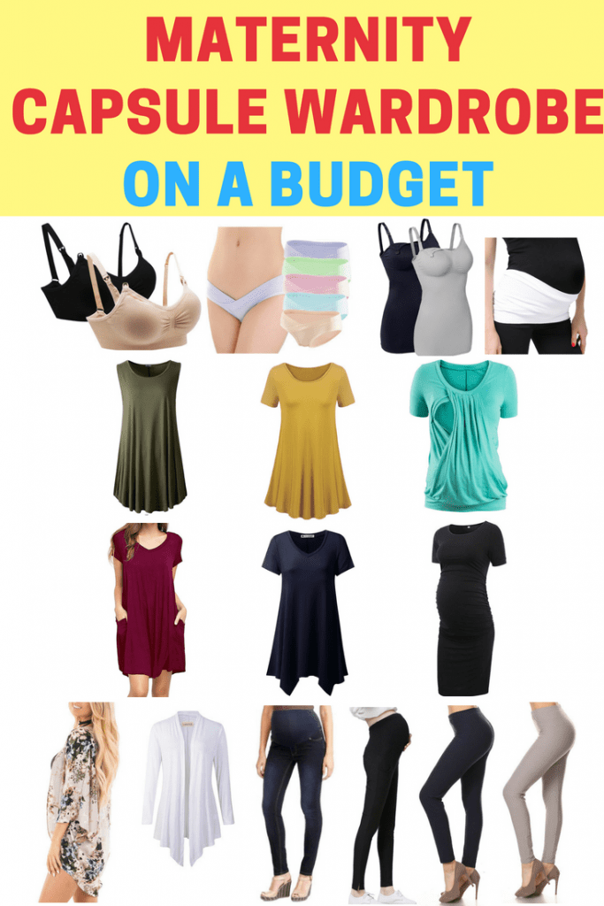 Build your own minimalist capsule wardrobe on a budget! Simple maternity products that work well together and will give you cute inexpensive maternity wardrobe options.