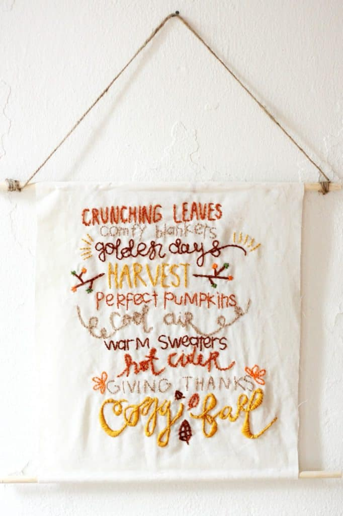 fall diy for adults embroidered banner