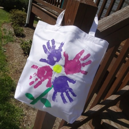 Mother's Day Craft Idea: Hand Print Flower Tote