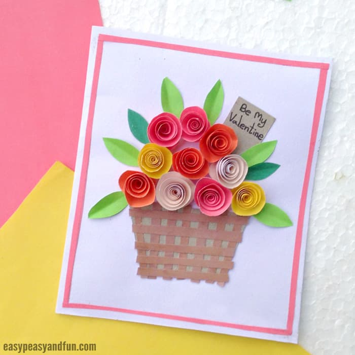 DIY Rolled Paper Roses Valentines Day or Mother's Day Card