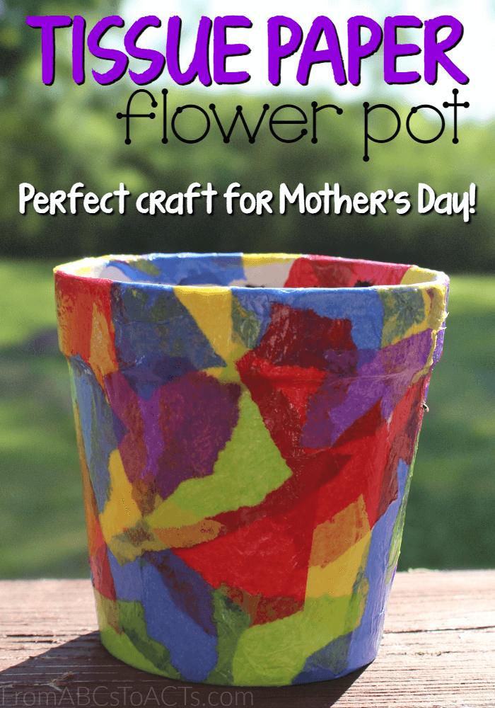 Tissue Paper Flower Pot - Springtime Crafts for Kids