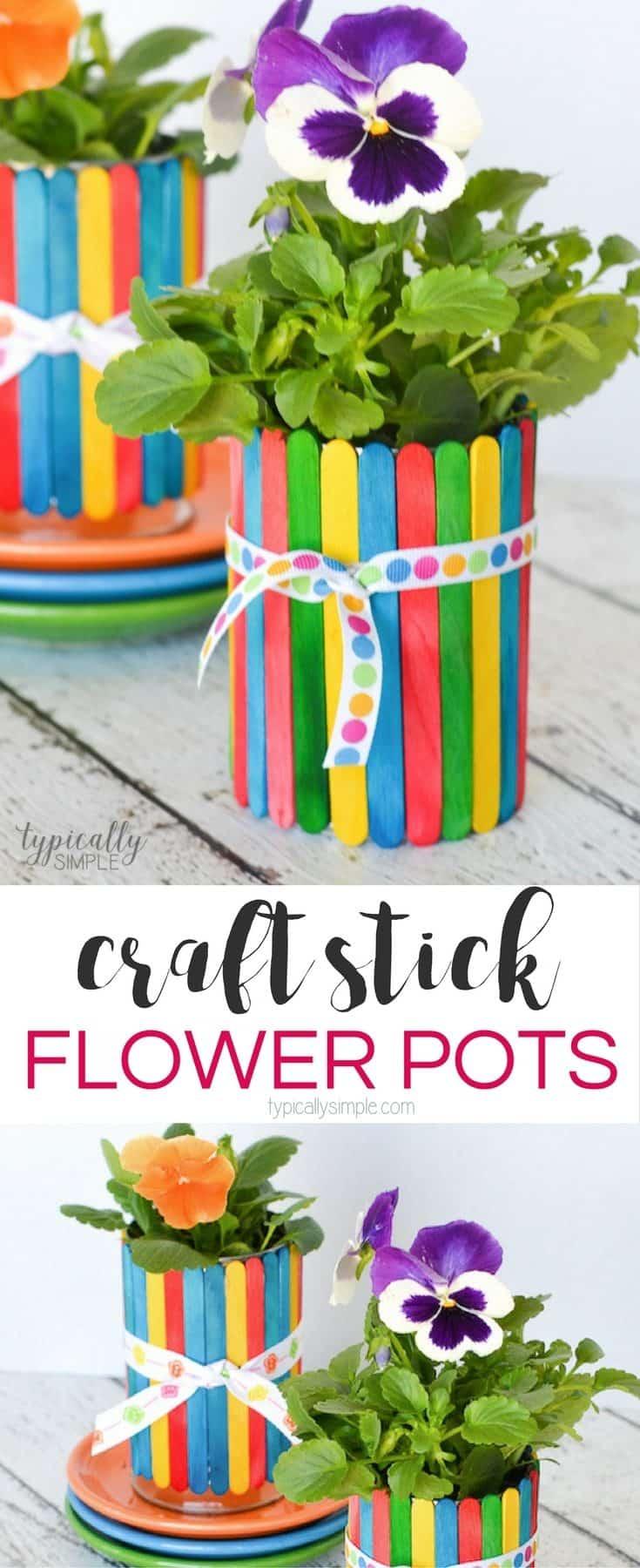 Craft Stick Flower Pots