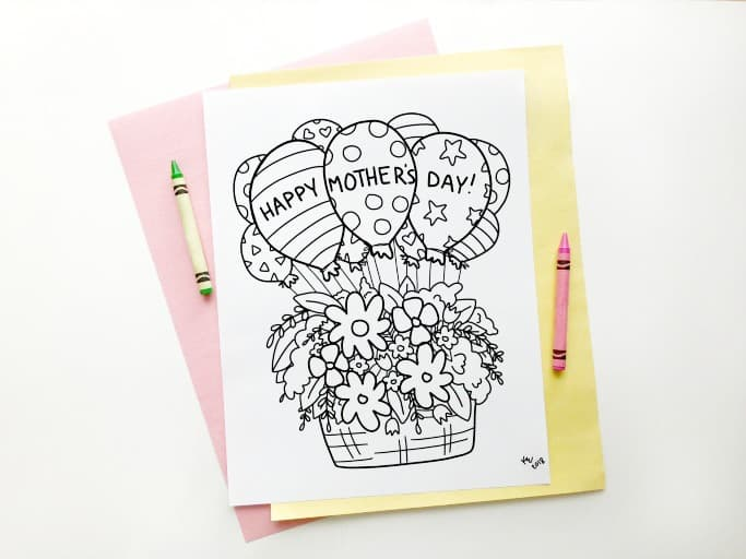 Mothers Day Colouring Page for Kids