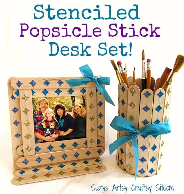 DIY Stenciled Popsicle Stick Desk Set!