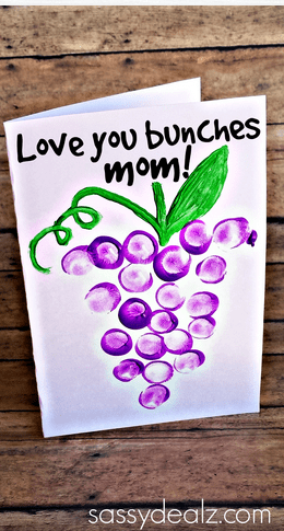 """""""Love You Bunches"""" Kids Thumbprint Grapes Card"""