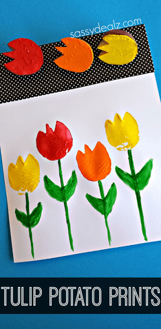 Tulip Potato Printing Craft for Kids