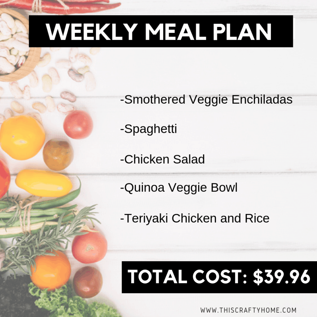 Weekly meal plan on a budget