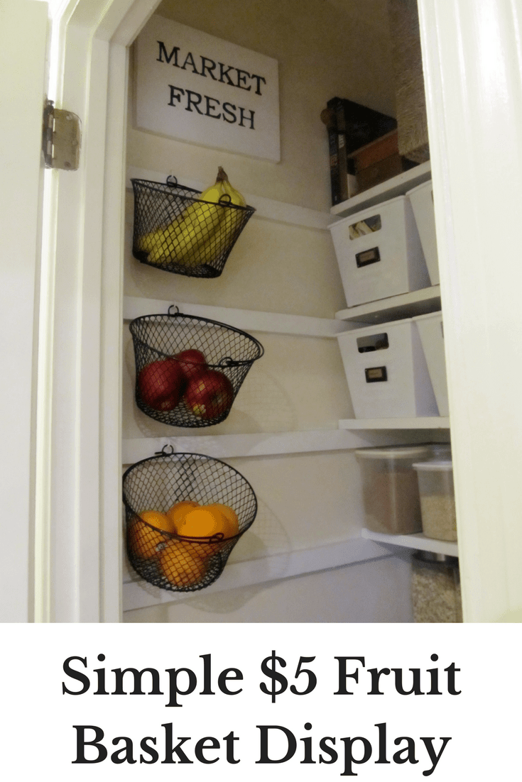 Easy Wall Mounted Fruit Basket Display DIY (for just $5!)
