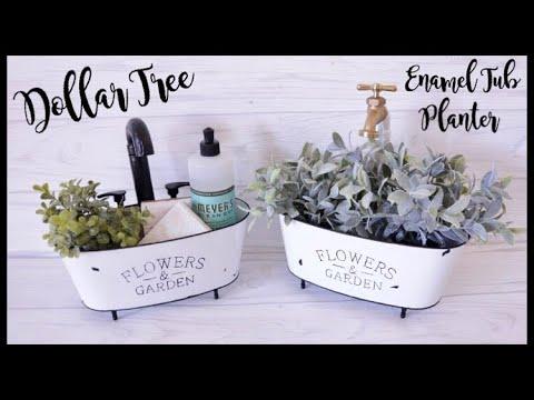 Dollar Tree DIY Farmhouse Enamel Tub Planter